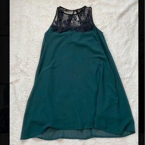 Lace top green socialite shift dress